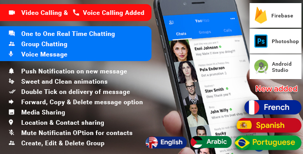 YooHoo v5.3 – Android Chatting App with Voice/Video Calls, Voice messages + Groups -Firebase | Complete App