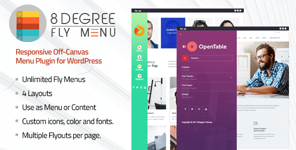 8Degree Fly Menu v1.0.8 - Responsive Off-Canvas Menu Plugin