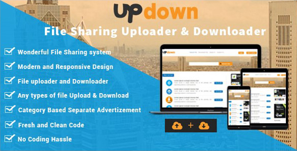 UpDown v1.3 - File Sharing Uploader / Youtube / Downloader & Blogging