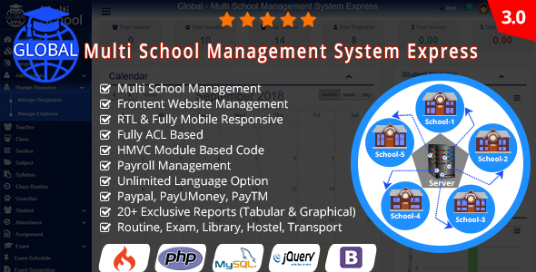 Global v3.0 – Multi School Management System Express – nulled