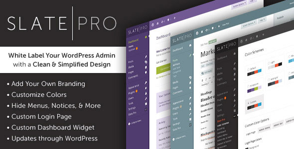 Slate Pro v1.1.5 – A White Label WordPress Admin Theme