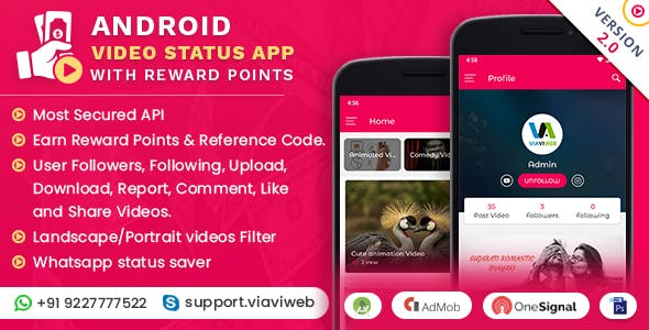Android Video Status App With Reward Points (WA Status Saver) v2.0
