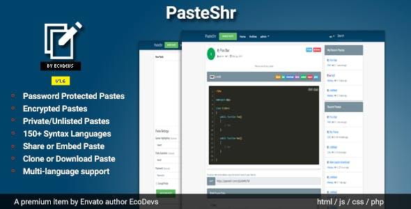 PasteShr v1.6 - Text Hosting & Sharing Script