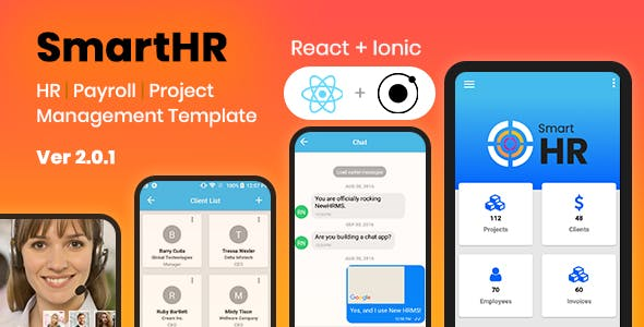 SmartHR – HR Management System – Ionic and React Native Mobile App Template