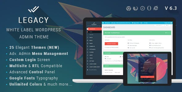 Legacy v6.3 – White label WordPress Admin Theme