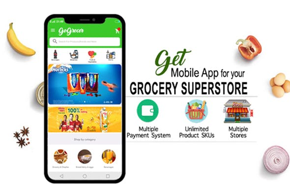 Grocery Supermarket Android App with Backend, Manager and Driver App