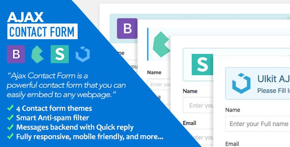 Ajax Contact Form with Bootstrap, Semantic UI, Bulma, & UIkit Forms v1.1