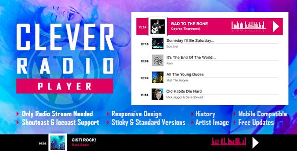 CLEVER v1.1 – HTML5 Radio Player With History – Shoutcast and Icecast – WordPress Plugin