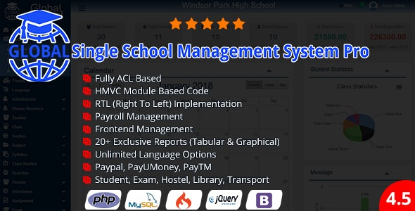 Global v4.5 - Single School Management System Pro