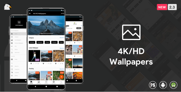 4K/HD Wallpaper Android App (Google Material Design + Admob + Firebase Push Noti + PHP Backend) 2.3