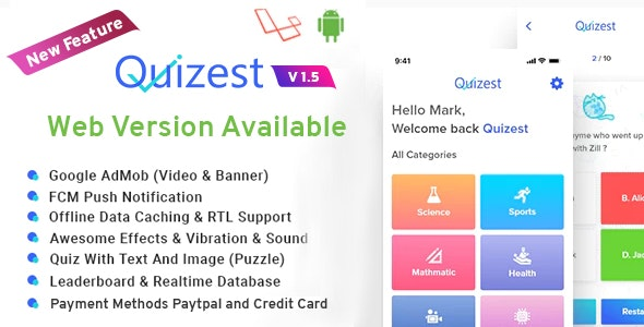 Quizest v1.5 – Complete Quiz Solutions With Android App And Interactive Admin Panel