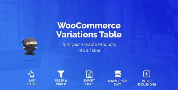 WooCommerce Variations Table v1.2.4