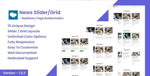 News Post Sliders News Post Grid Builder Addon v1.0.2 - WpBakery Page Builder WordPress