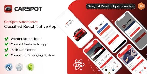 CarSpot v1.5 – Dealership Classified React Native Android App + IOS