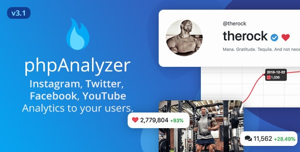 phpAnalyzer v3.1.2 – Social Media Analytics Statistics Tool ( Instagram, Twitter, YouTube, Facebook ) – nulled