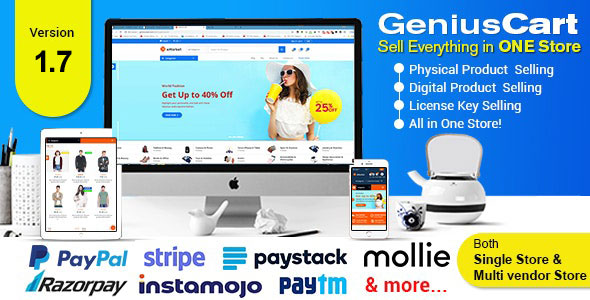 GeniusCart v1.7 - Single or Multivendor Ecommerce System with Physical and Digital Product Marketplace