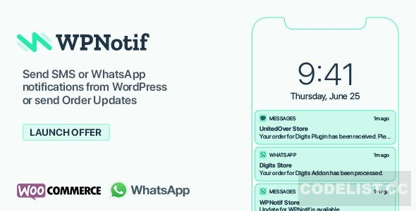 WPNotif v2.1.1.2 - WordPress SMS & WhatsApp Notifications