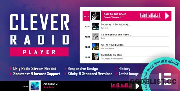 CLEVER v1.4 - HTML5 Radio Player With History - Shoutcast and Icecast - Elementor Widget Addon