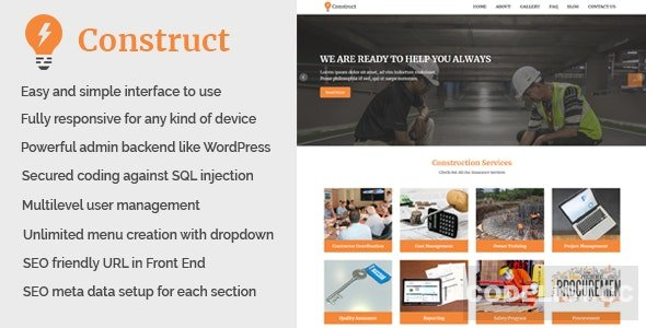 Construct v1.1- Building and Construction Website CMS