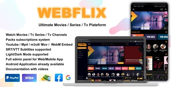 WebFlix v1.0 - Movies - TV Series - Live TV Channels - Subscription