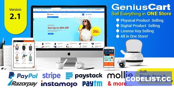 GeniusCart v2.1 - Single or Multivendor Ecommerce System with Physical and Digital Product Marketplace - nulled