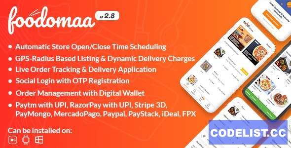 Foodomaa v2.8 - Multi-restaurant Food Ordering, Restaurant Management and Delivery Application