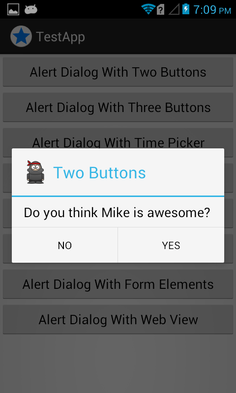 android show message box