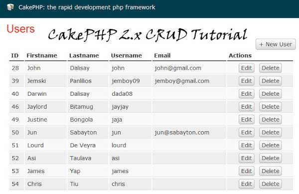 Creating a CakePHP CRUD Example - Source Code Download and Tutorial