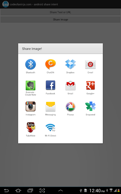 Android Share Intent Example for URL, Text or Image
