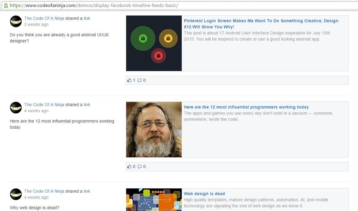 display facebook page feed on website - demo screenshot