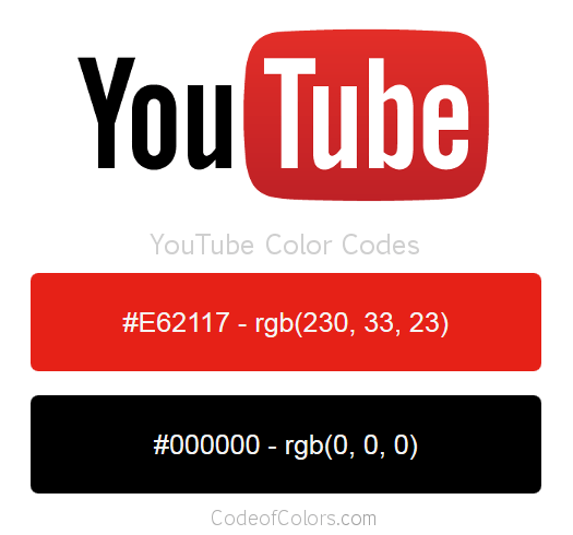 YouTube Colors  Hex and RGB Color Codes
