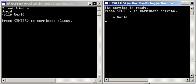 Hello World, Basic Server/Client Example of WCF