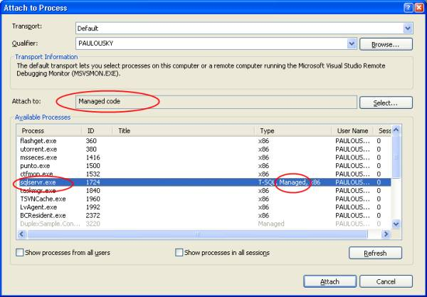 This dialog allows to attach to the process of SQL server and start debugging CLR triggers.
