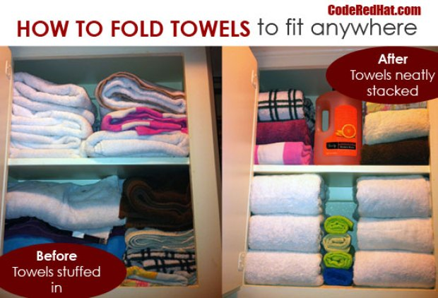 How to (finally) organize your linen closet - fold those towels.