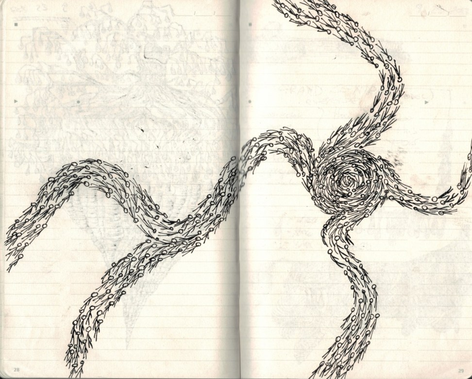 spiral Doodle Tuesday: Galaxy of Stick Figures doodle art