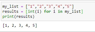 Convert list of Strings to Ints in Python using list comprehension