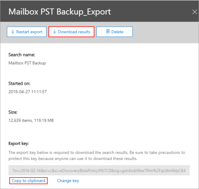 Export Office 365 mailboxes to PST download results
