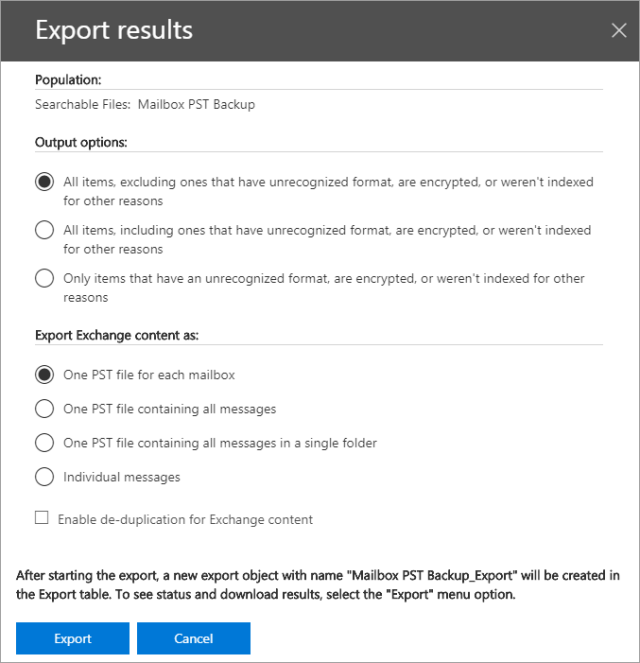 How to export Office 365 mailboxes to pst export results 2