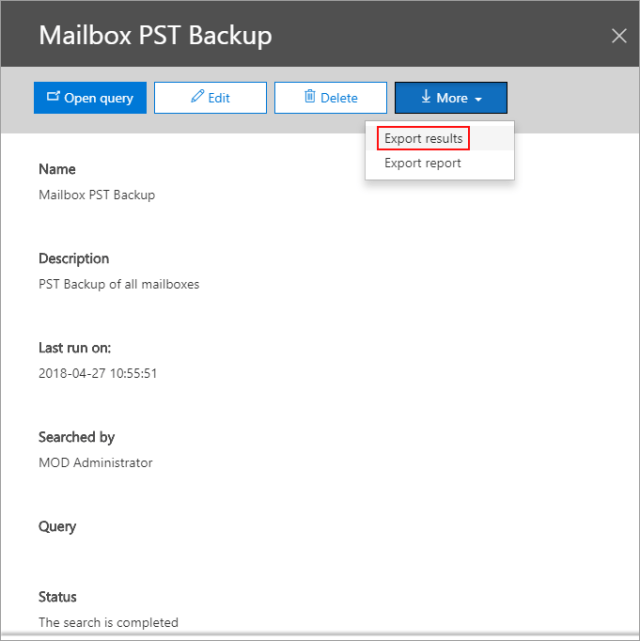 How to export Office 365 mailboxes to pst export results