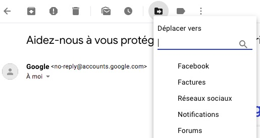 Déplacer email