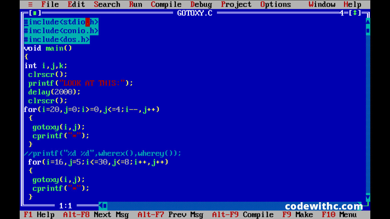 C Program: A Simple Use of gotoxy() to Display Hindi Text | Code with C