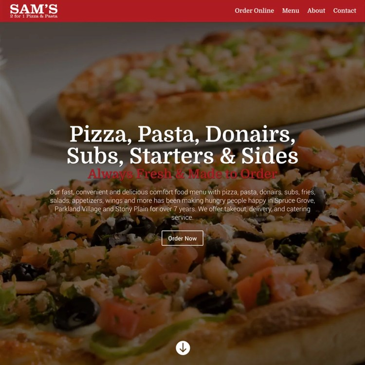 Sam's 2 for 1 Pizza & Pasta