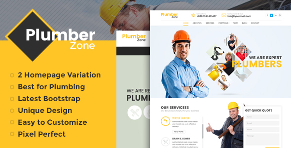 Plumber Zone - Plumbing, Repair 38; Construction WordPress Theme