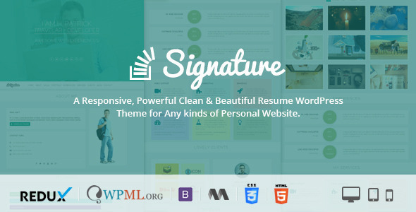 Signature ? Responsive CV / Resume WordPress Theme