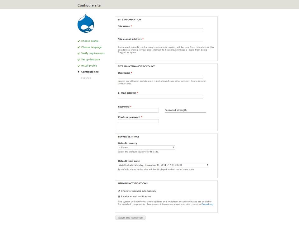 captura de pantalla de configuración del sitio