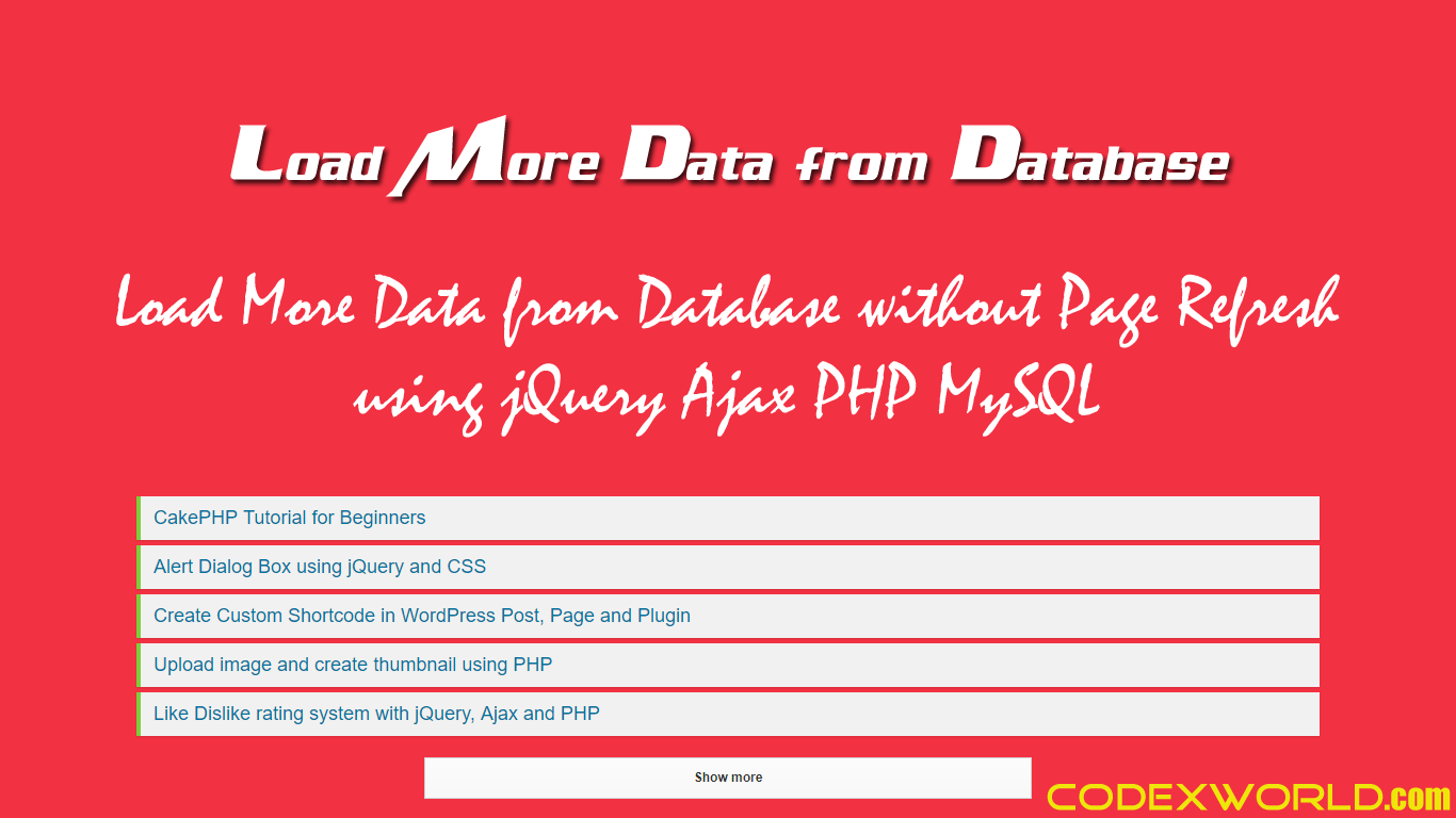 Load More Data from Database using jQuery Ajax PHP MySQL