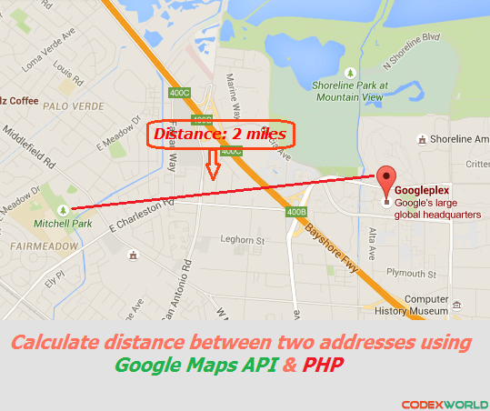 Distance Between Two Addresses Using Google Maps API And PHP - Route map and distance calculator