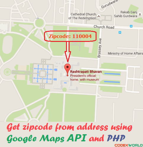 Get zipcode from address using Google Maps API and PHP - CodexWorld