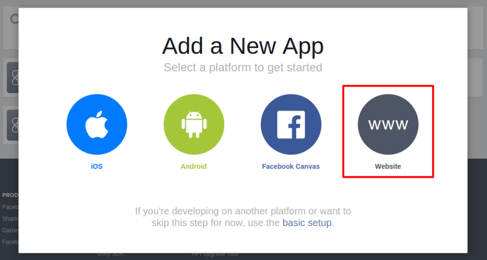 facebook-app-creation-tutorial-select-platform-by-codexworld