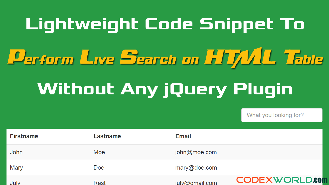 How to Perform Live Search and Filter on HTML Table using